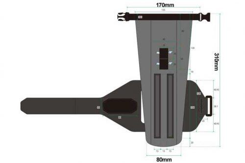 R250 防水ダウンチューブバッグ グレー 1.6L